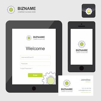 App und visitenkarte des dienstleistungsunternehmens