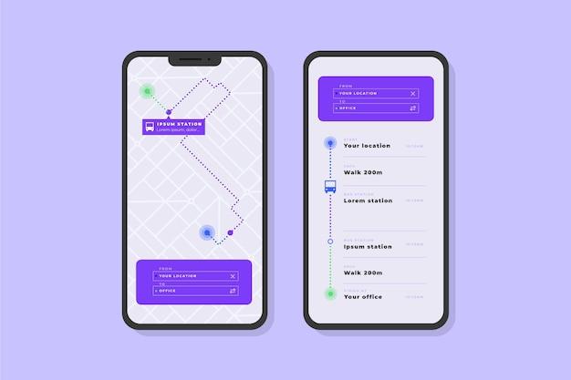 App-vorlage für bildschirme für öffentliche verkehrsmittel