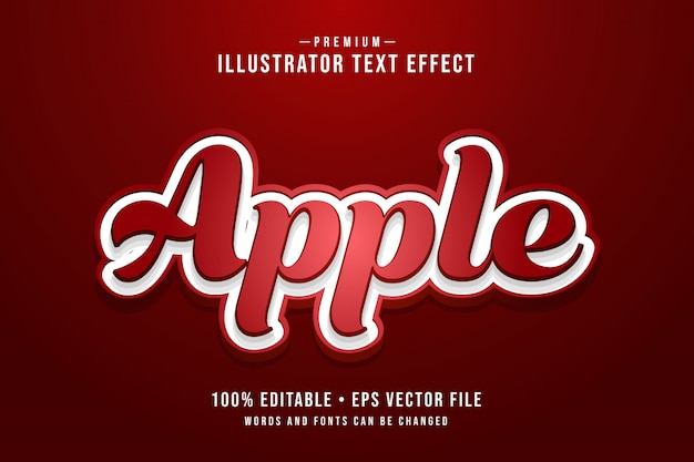 Apple bearbeitbarer 3d-texteffekt oder grafikstil mit rotem farbverlauf