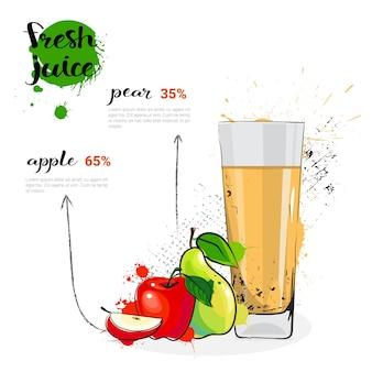 Apple-birnen-mischungs-cocktail von frischen saft-hand gezeichneten aquarell-früchten und von glas auf weißem hintergrund