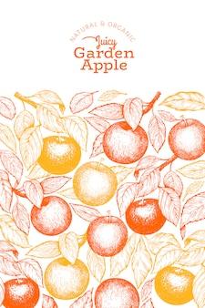 Apple branch vorlage. hand gezeichnete gartenfruchtillustration. retro botanisches obst der gravurart.