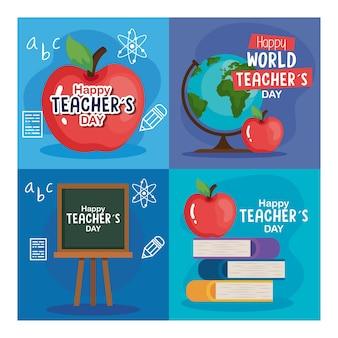 Apple bücher green board und world sphere design, happy teachers day feier und bildungsthema