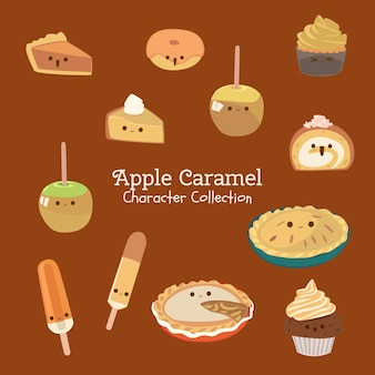 Apple caramel charakter-sammlung