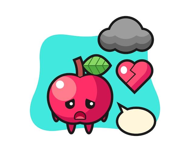 Apple cartoon illustration ist gebrochenes herz