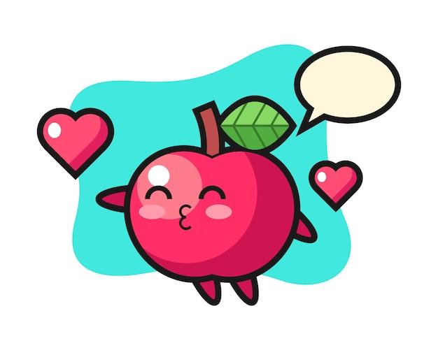 Apple charakter cartoon mit kussgeste