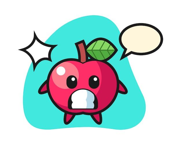 Apple charakter cartoon mit schockierter geste