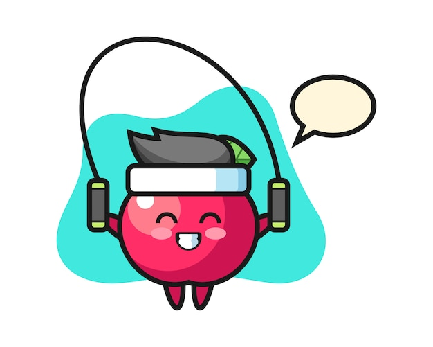 Apple charakter cartoon mit springseil