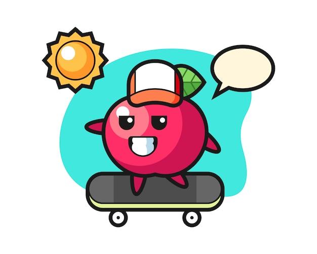 Apple charakter illustration fahren ein skateboard