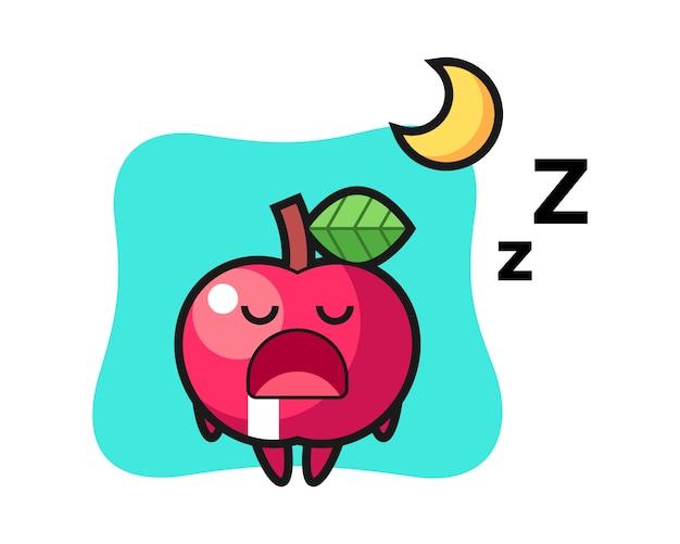 Apple charakterillustration, die nachts schläft