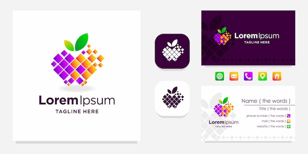 Apple digitales logo mit visitenkartendesign