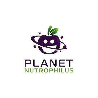Apple-ernährung mit planet-logo-design-vorlage