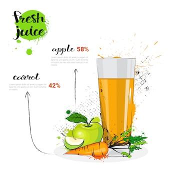 Apple-karotten-mischungs-cocktail des frischen saft-hand gezeichneten aquarell-glases auf weißem hintergrund