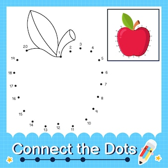 Apple kids puzzle verbinden sie das punkte-arbeitsblatt für kinder, die die zahlen 1 bis 20 zählen