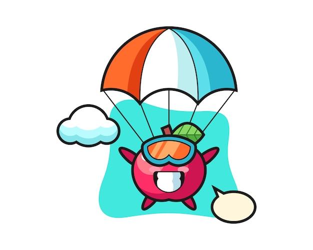 Apple maskottchen cartoon fallschirmspringen mit fröhlichen gesten