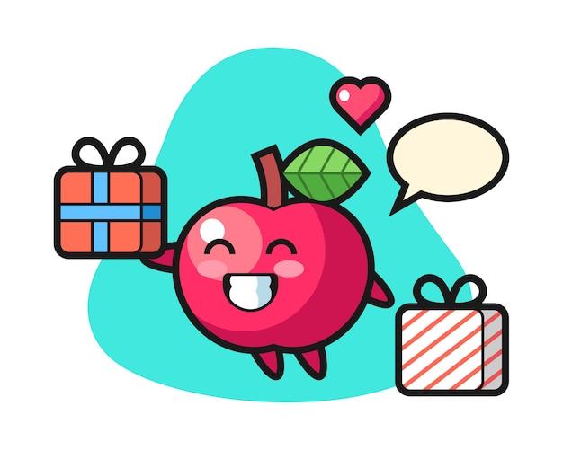 Apple maskottchen cartoon geben das geschenk