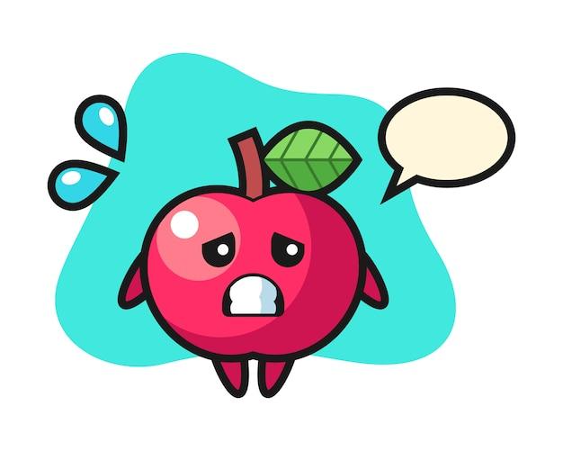 Apple maskottchen charakter mit ängstlicher geste