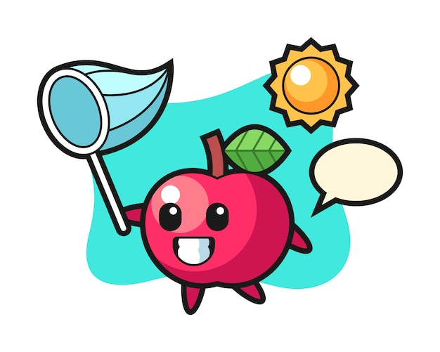 Apple maskottchen illustration fängt schmetterling