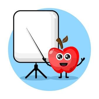Apple wird zu einem niedlichen charakterlogo des lehrers