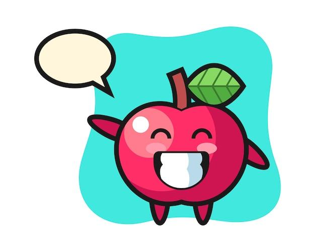 Apple-zeichentrickfigur, die wellenhandgeste tut