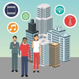 Apps avatare, die intelligente stadtikone errichten