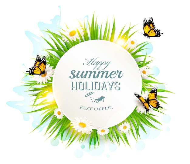 Appy-sommerferien-banner mit gras und schmetterlingen.