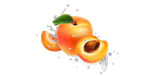 Aprikosen in spritzer milch oder joghurt.