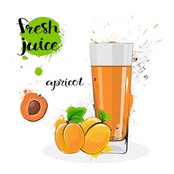 Aprikosen-saft-frische hand gezeichnete aquarell-früchte und glas auf weißem hintergrund