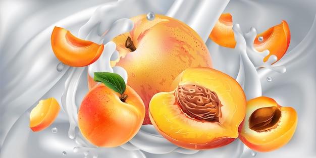Aprikosen und pfirsiche in einem strom von milch oder joghurt.