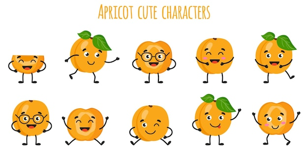 Aprikosenfrucht süße lustige fröhliche charaktere mit verschiedenen posen und emotionen. natürliche vitamin-antioxidans-detox-lebensmittelsammlung. cartoon isolierte abbildung.