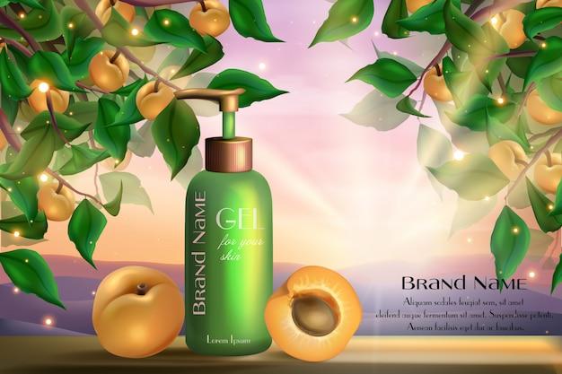 Aprikosenkosmetik-hautpflegeproduktillustration. haut-körperpflege-gelflasche, realistisches glas mit spender und reifen aprikosenfrüchten, grüne blätter auf natürlichem gesundheitskosmetikhintergrund