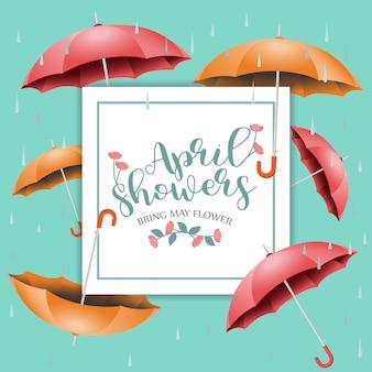 April-duschen bringen mai-blumenvektordesignillustration