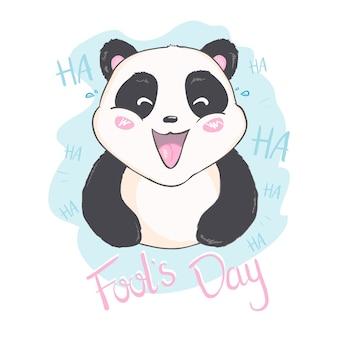 Aprilscherz nachricht mit niedlichen panda