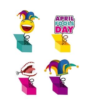 Aprilscherztag in verbindung stehende ikonen über weißem hintergrund. farbenfrohes design. vektor-illustration