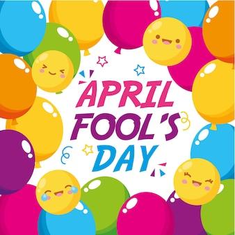 Aprilscherztag mit emojis und luftballons. illustration