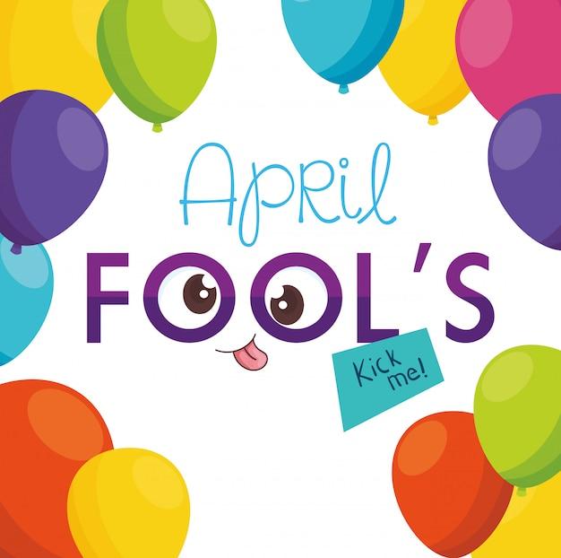 Aprilscherztag mit verrückten augen und luftballons helium