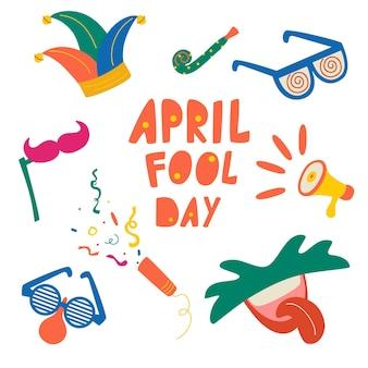 Aprilscherztag vektorelemente eingestellt. narrenhut, cracker, lustige brille, nasen, schnurrbärte, mund mit zungensymbol auf weißem hintergrund. buntes und flaches design.