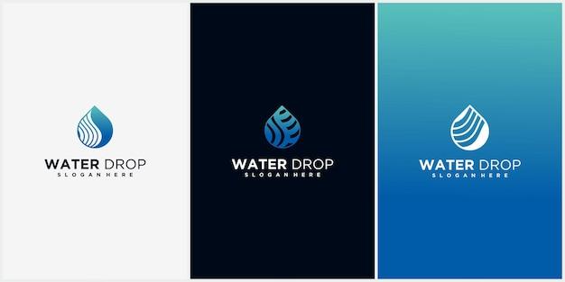 Aqua lineares logo-design luxus-monoline-wasserlogo und kreatives wasserlogo mit visitenkartenanzeige