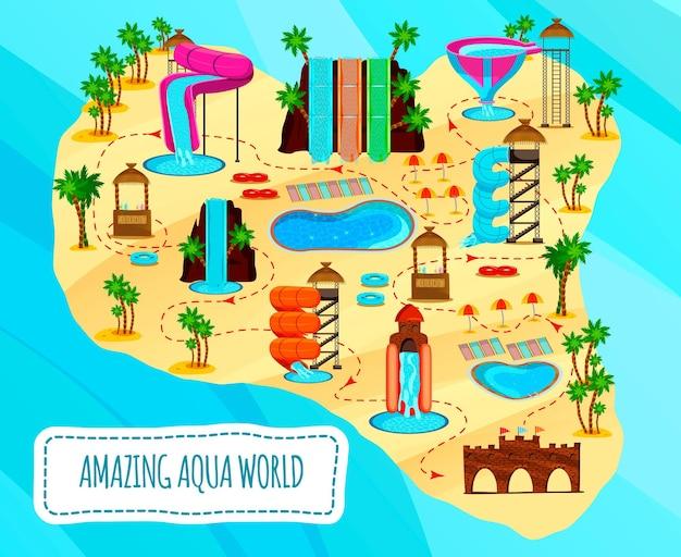 Aqua park flache schema der unterhaltsamen objekte stände mit cocktails und pools auf blau