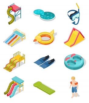 Aqua park isometric icon set