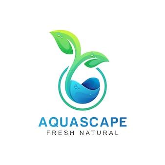 Aqua scape natürliches frisches blattlogo, welle oder wasser mit blattlogokonzept, schablone
