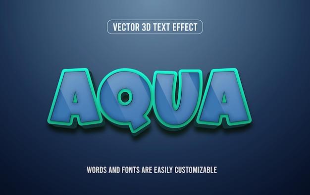 Aqua wasser 3d bearbeitbarer textstileffekt