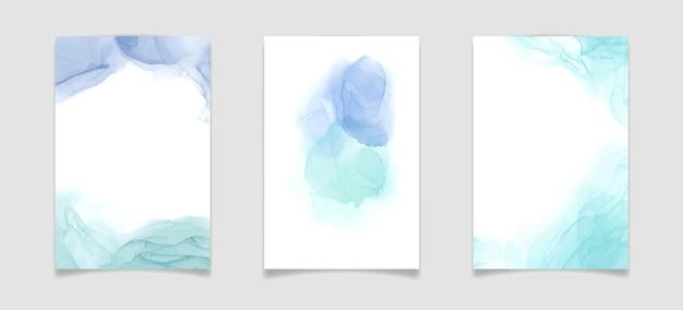 Aquamarinblauer und mintfarbener flüssiger aquarellhintergrund luxus minimaler türkis handgezeichnete flüssigkeit al