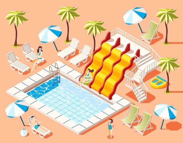 Aquapark isometrisch mit sonnenbaden und lustigen fahrgeschäften symbolillustration