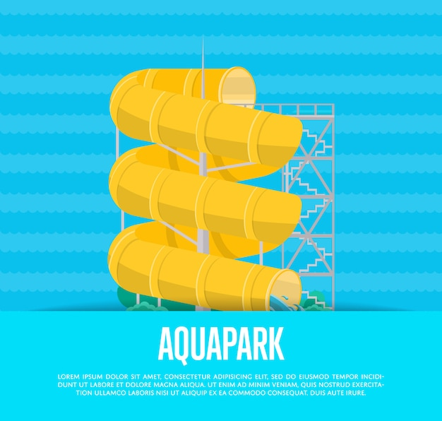 Aquapark-plakat mit wasserrutsche