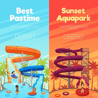 Aquapark vertical banner