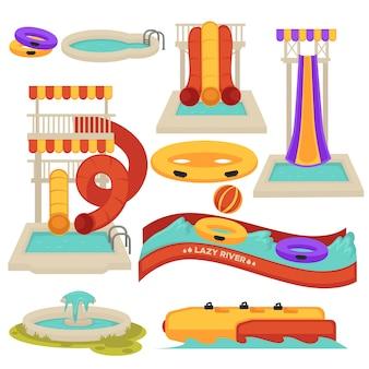 Aquapark-wasserrutschen und vergnügungsparkanziehungskräfte vector die flache lokalisierte karikatur