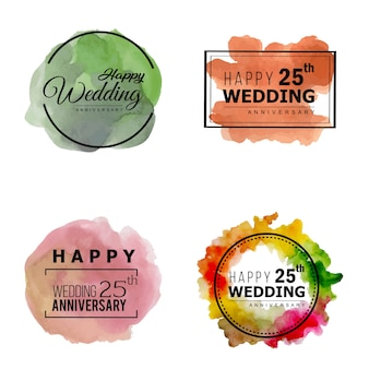 Aquarell 25 hochzeitstag floral frame designs