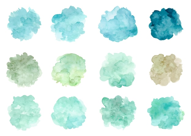 Aquarell abstrakte grüne fleckensammlung