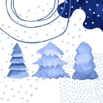 Aquarell abstrakte tannen und texturen zum erstellen von weihnachtshintergrund. vektor