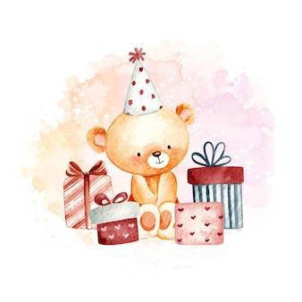 Aquarell alles gute zum geburtstag teddybär
